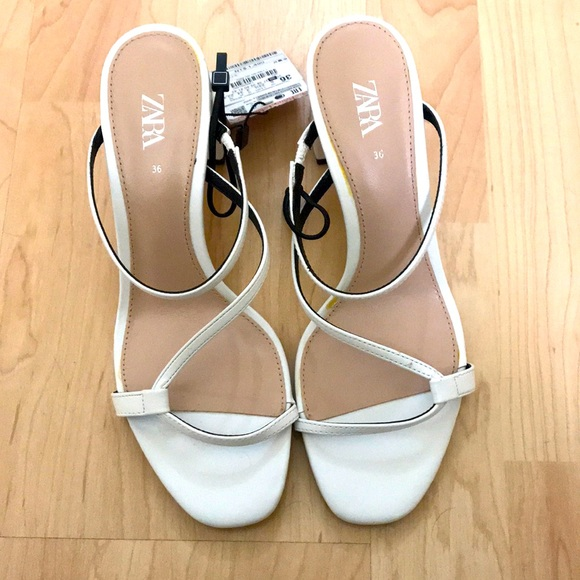 Zara white sandal block heels